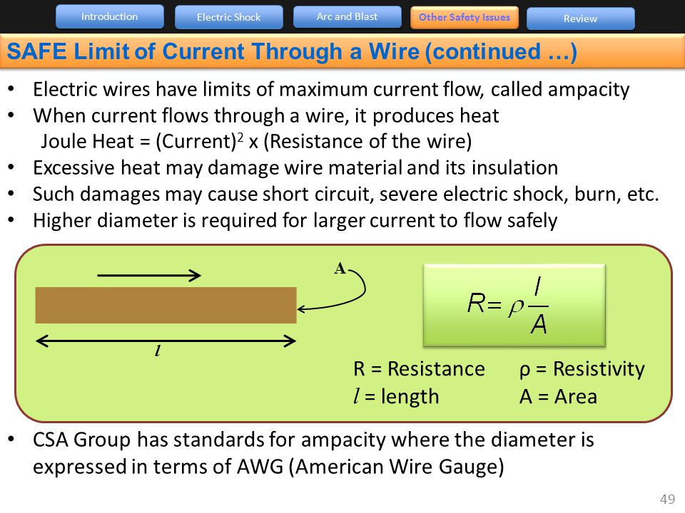SAFE Limit of Current Through a Wire (continued …)