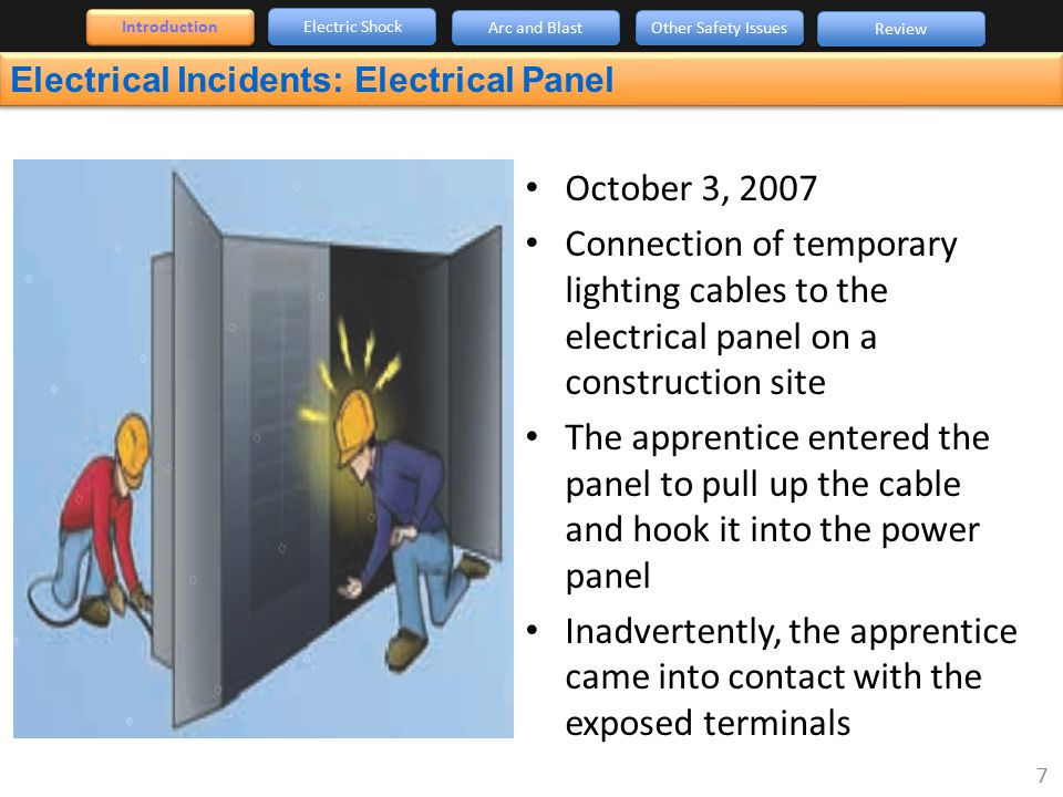 Introduction Electric Shock. Arc and Blast. Other Safety Issues. Review. Electrical Incidents: Electrical Panel.