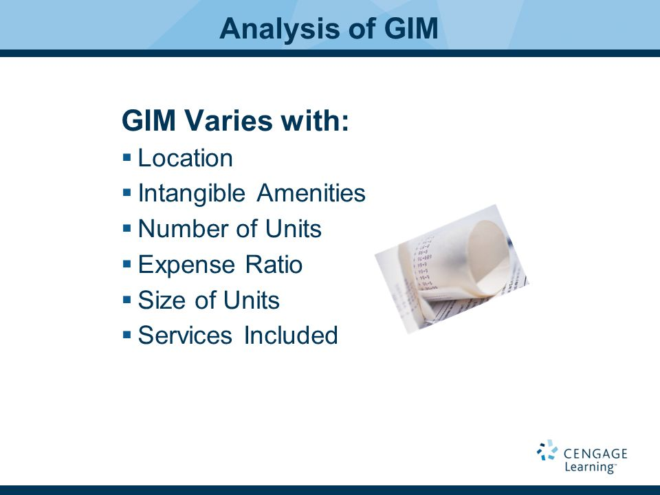 Analysis of GIM GIM Varies with: Location Intangible Amenities