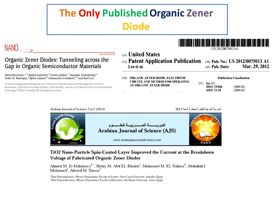 The Only Published Organic Zener Diode