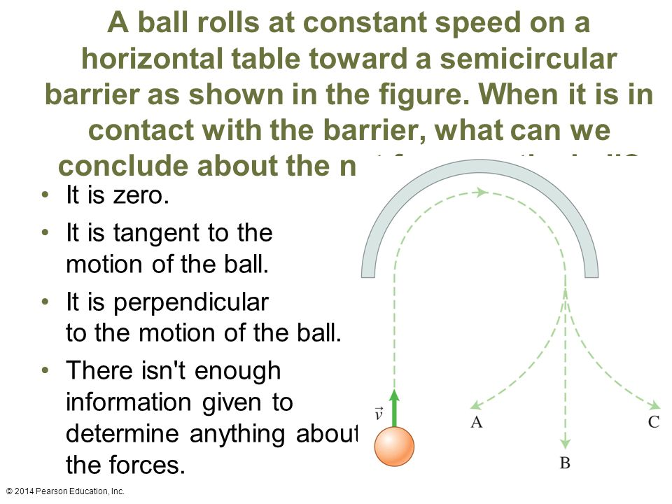 A ball rolls at constant speed on a horizontal table toward a semicircular barrier as shown in the figure. When it is in contact with the barrier, what can we conclude about the net force on the ball