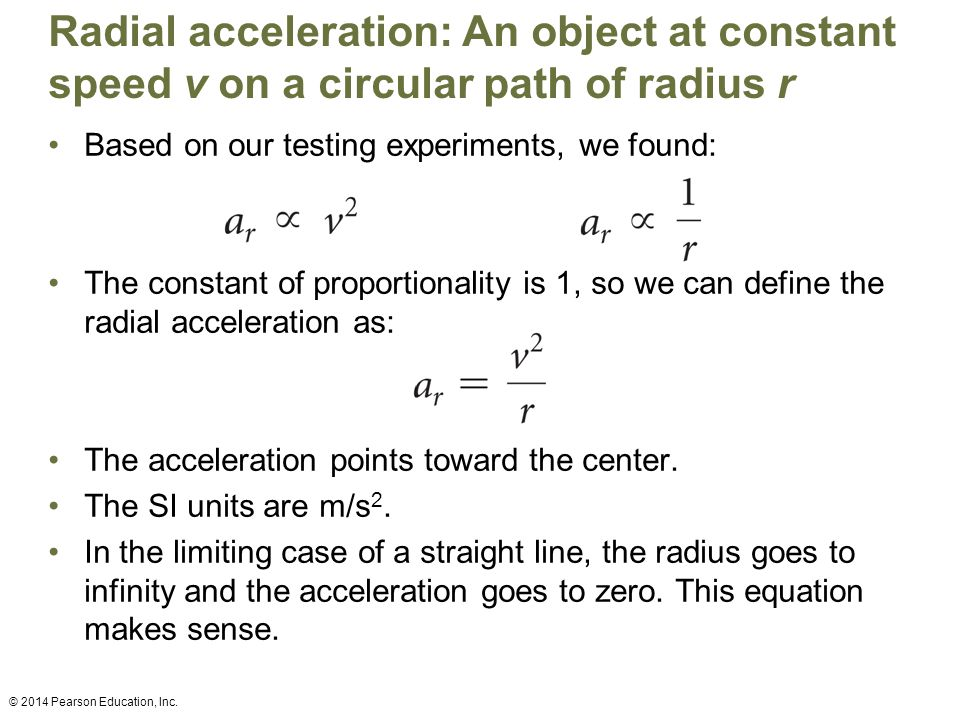 Radial acceleration: An object at constant speed v on a circular path of radius r