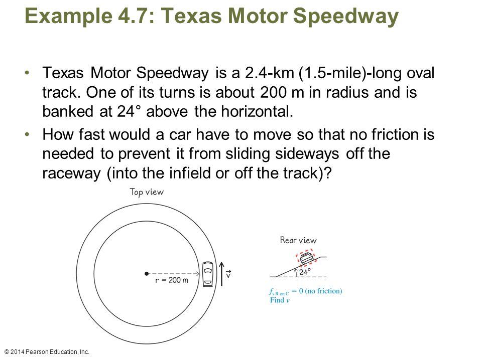 Example 4.7: Texas Motor Speedway