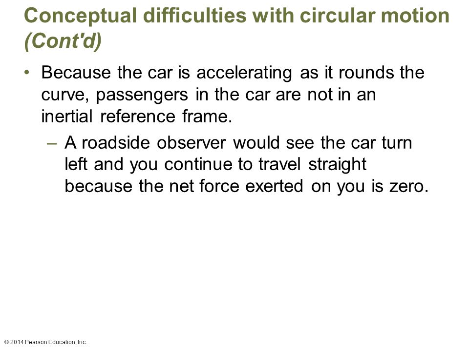 Conceptual difficulties with circular motion (Cont d)