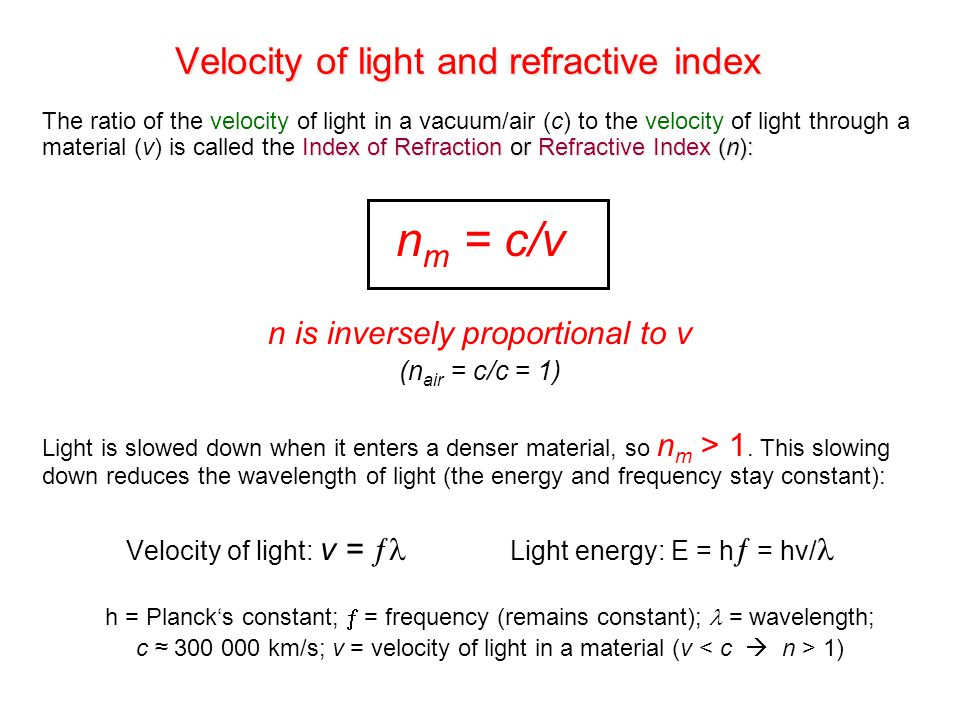 Velocity of light and refractive index