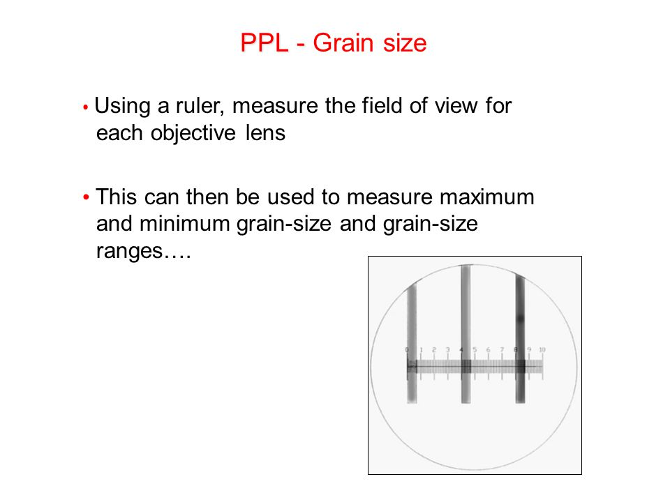 PPL - Grain size Using a ruler, measure the field of view for each objective lens.
