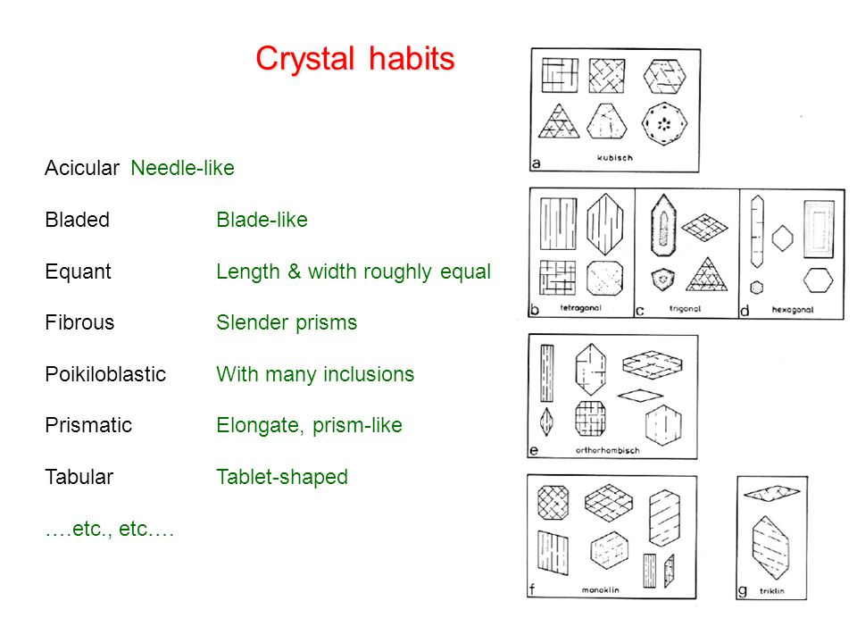 Crystal habits Acicular Needle-like Bladed Blade-like