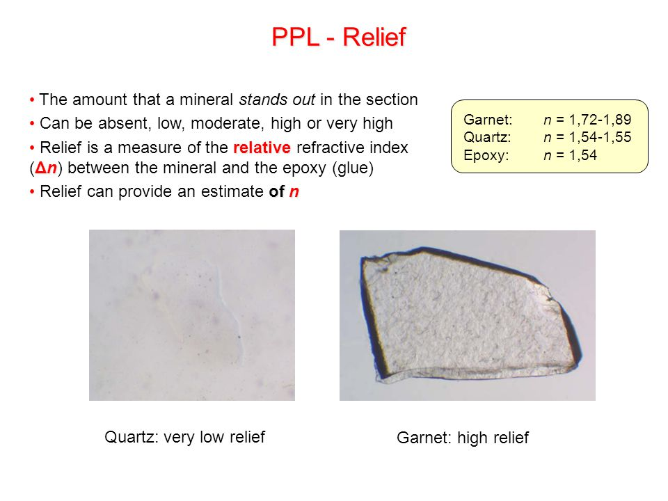PPL - Relief The amount that a mineral stands out in the section