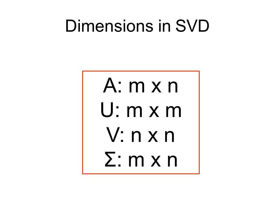 Dimensions in SVD A: m x n U: m x m V: n x n Σ: m x n