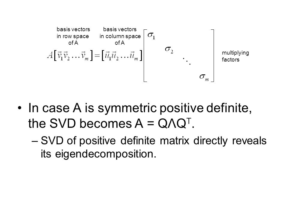 In case A is symmetric positive definite, the SVD becomes A = QΛQT.