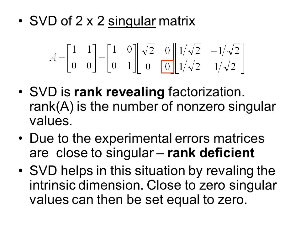 SVD of 2 x 2 singular matrix