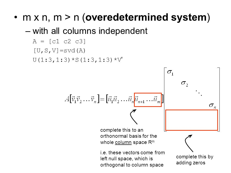 m x n, m > n (overedetermined system)