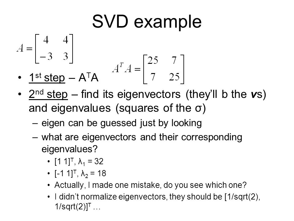 SVD example 1st step – ATA