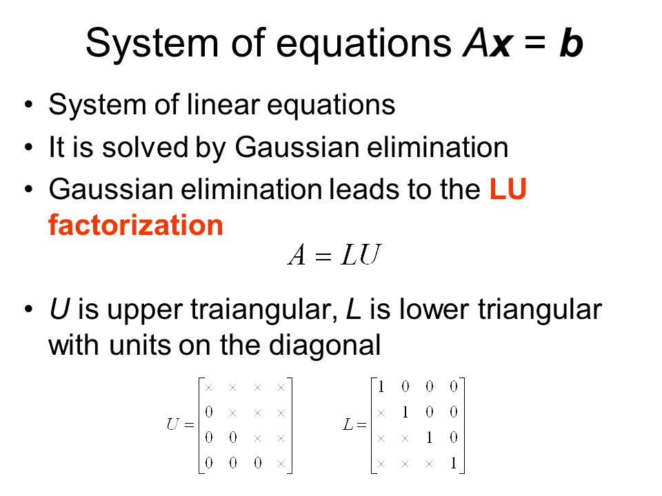 System of equations Ax = b