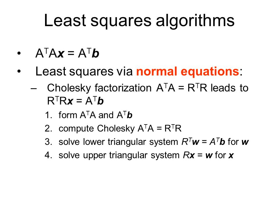 Least squares algorithms