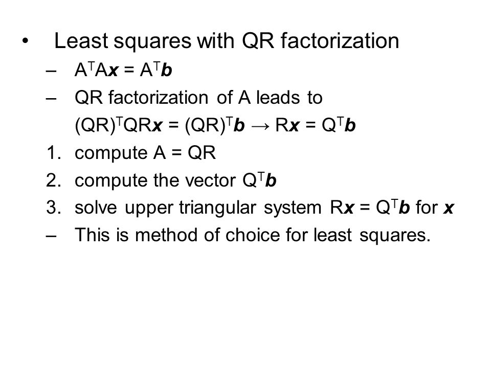 Least squares with QR factorization