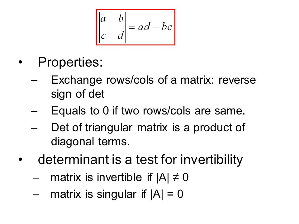 determinant is a test for invertibility