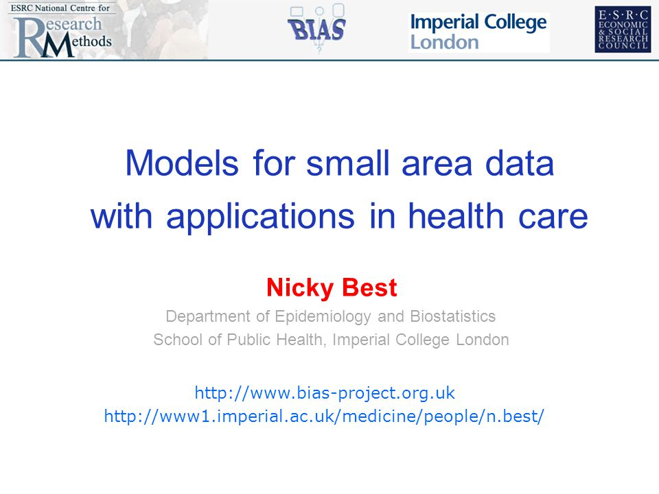 Models for small area data with applications in health care