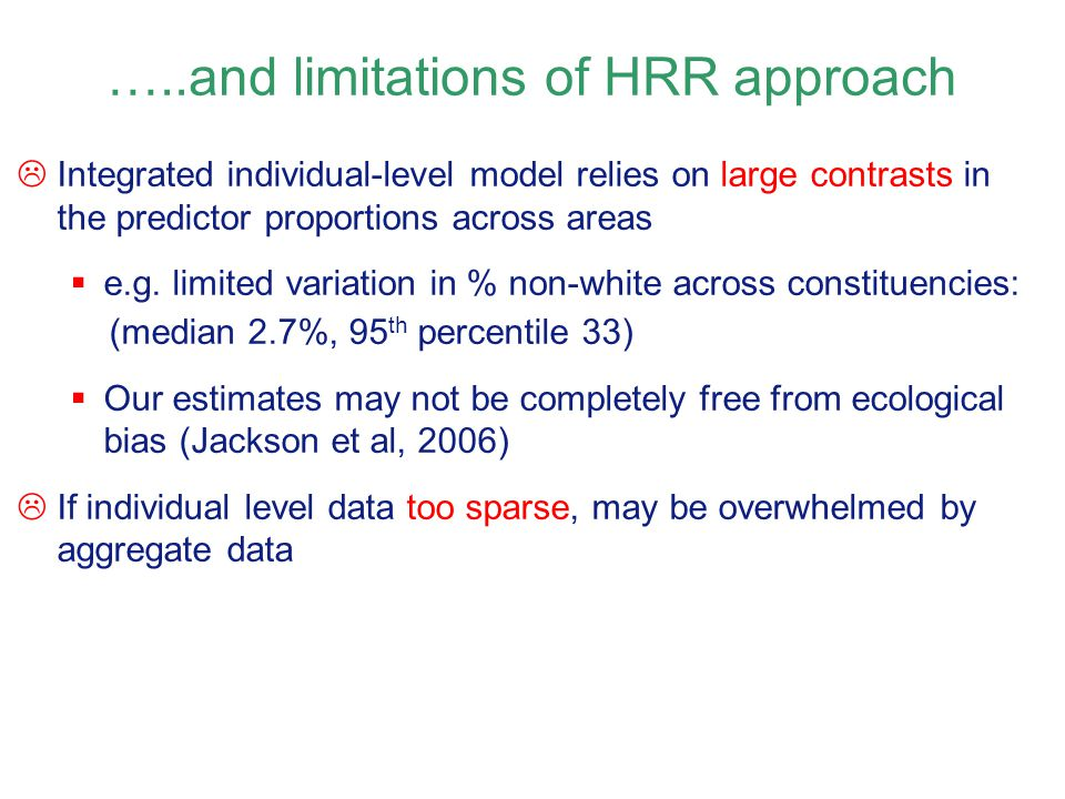 …..and limitations of HRR approach
