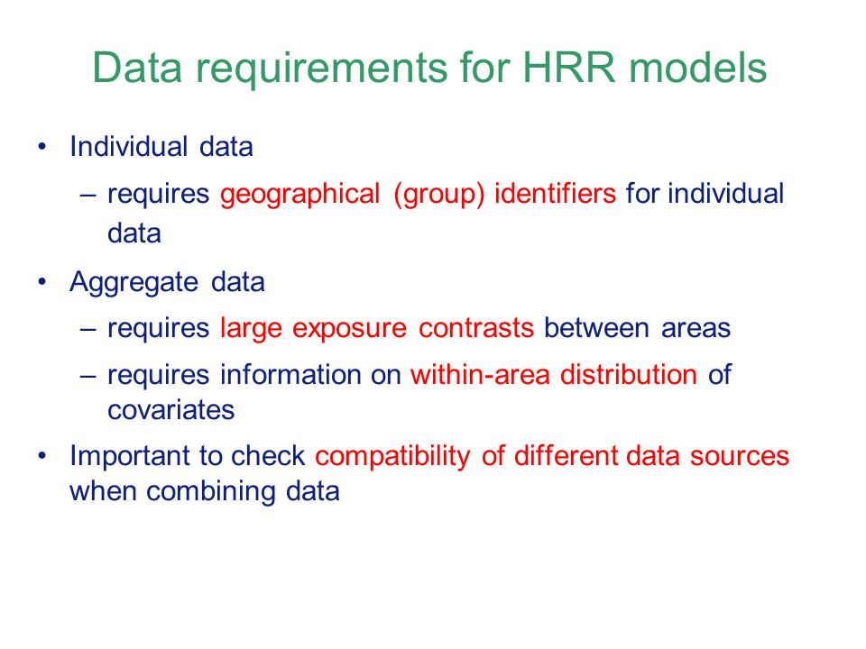 Data requirements for HRR models