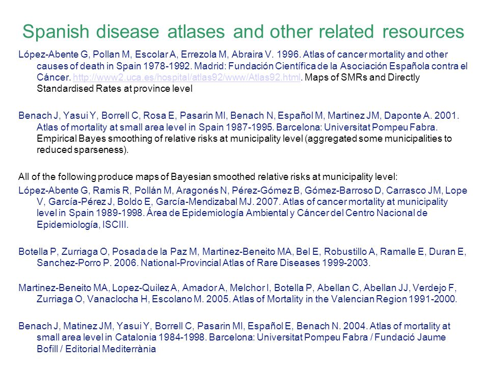 Spanish disease atlases and other related resources