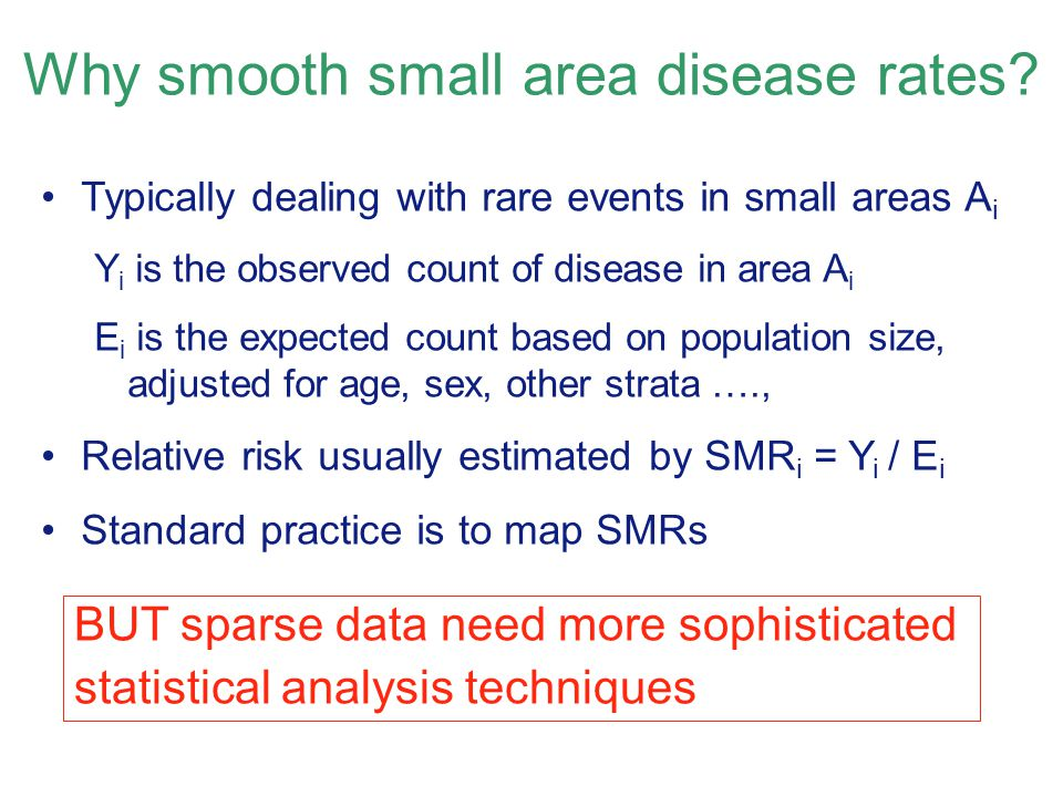 Why smooth small area disease rates