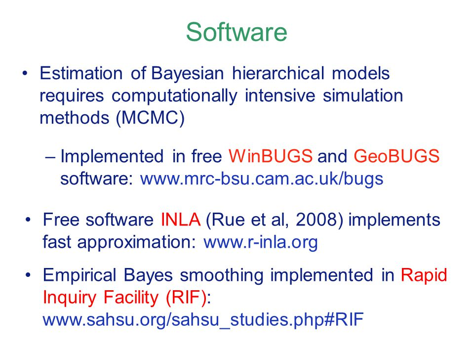 Software Estimation of Bayesian hierarchical models requires computationally intensive simulation methods (MCMC)