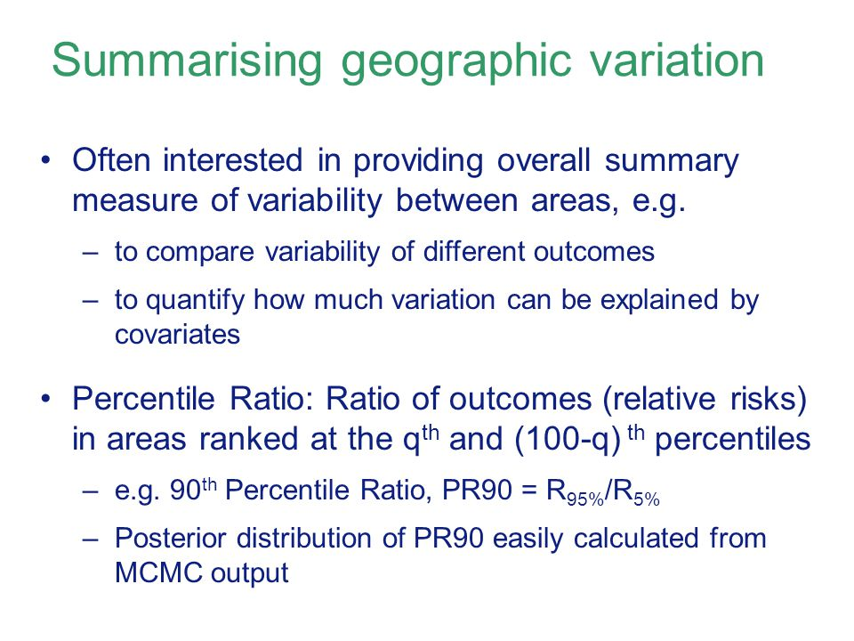 Summarising geographic variation