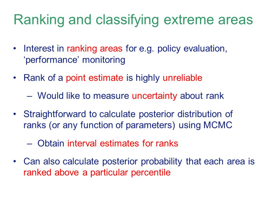 Ranking and classifying extreme areas