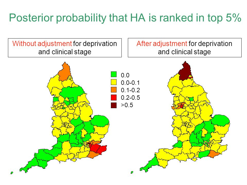Posterior probability that HA is ranked in top 5%