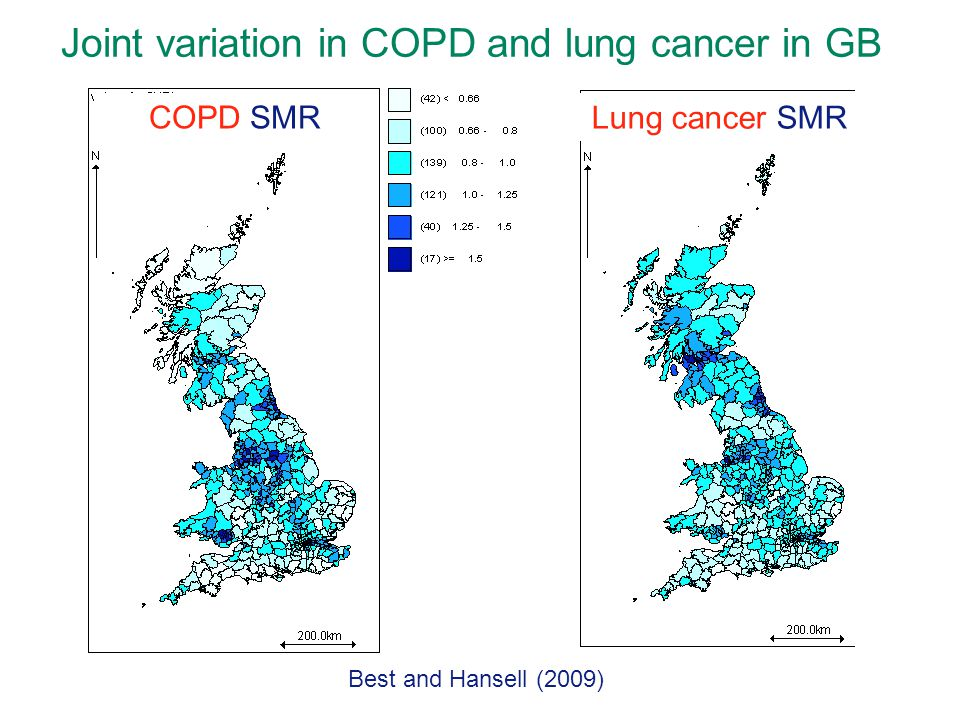 Joint variation in COPD and lung cancer in GB
