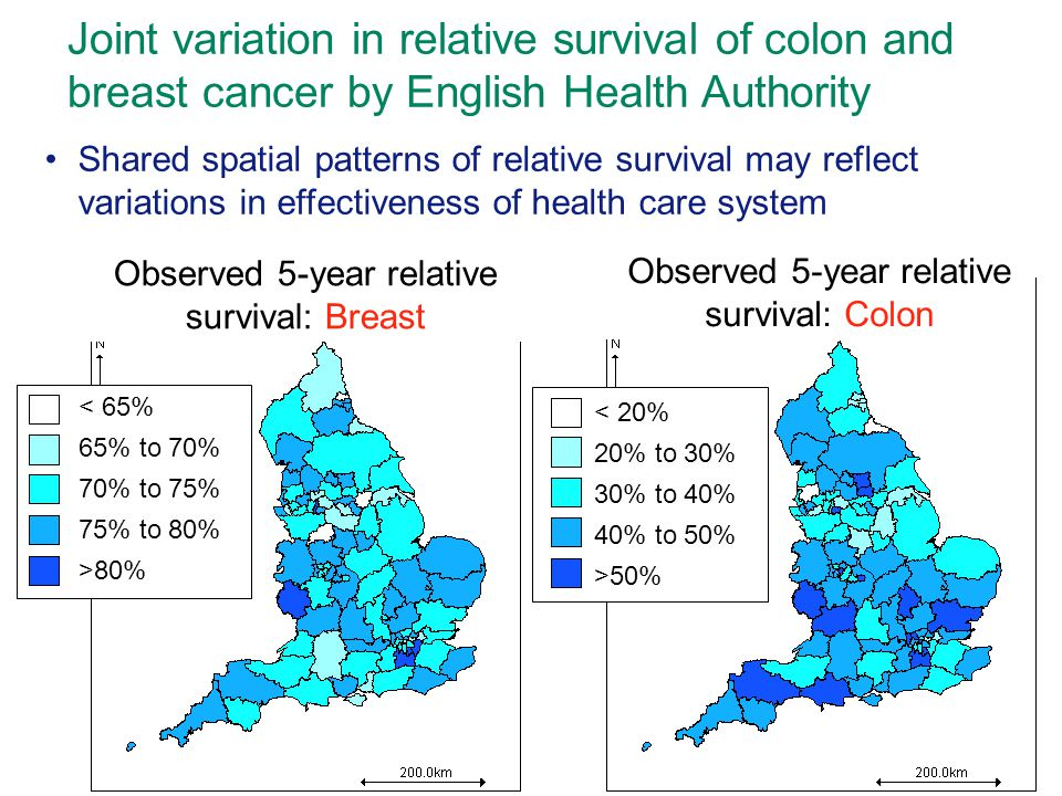 Joint variation in relative survival of colon and breast cancer by English Health Authority