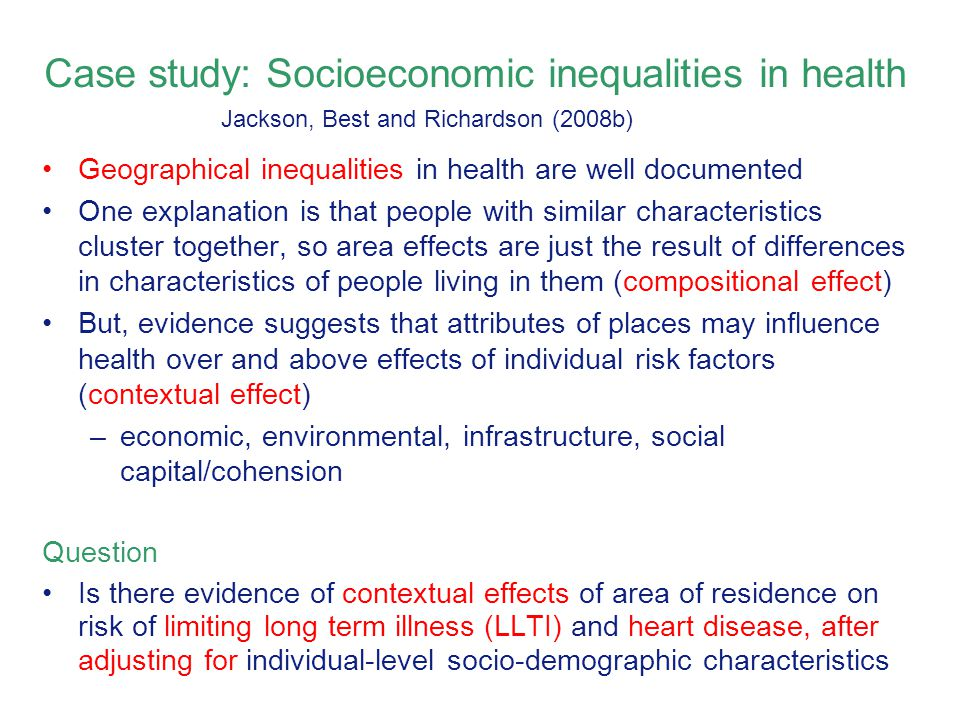 Case study: Socioeconomic inequalities in health