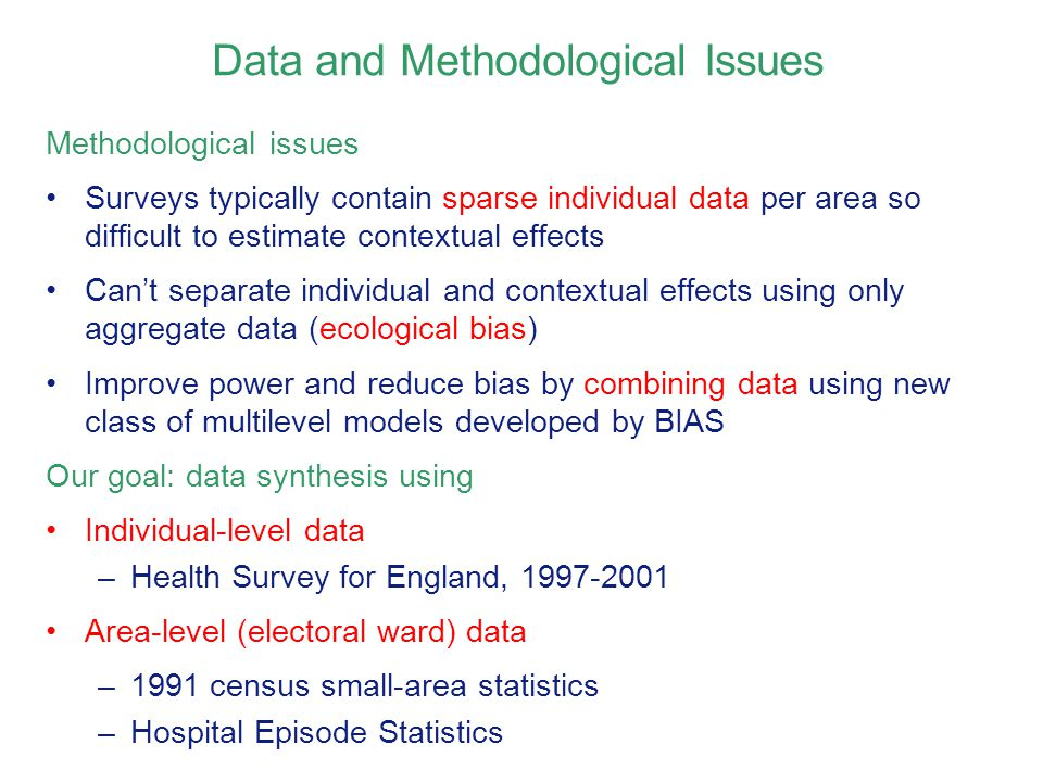Data and Methodological Issues