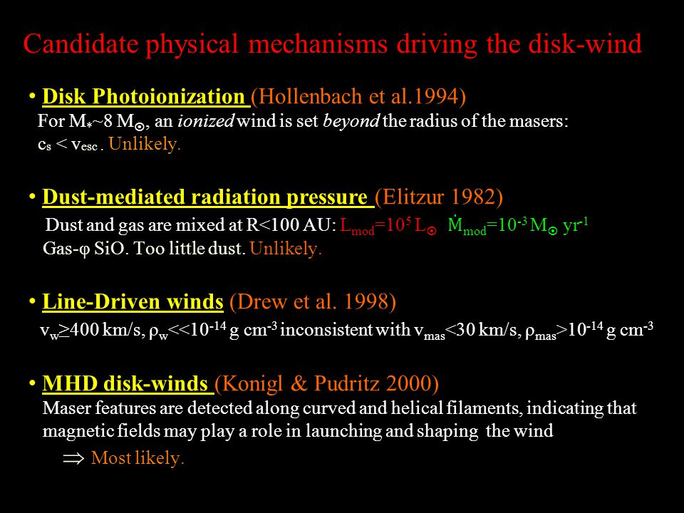 Candidate physical mechanisms driving the disk-wind