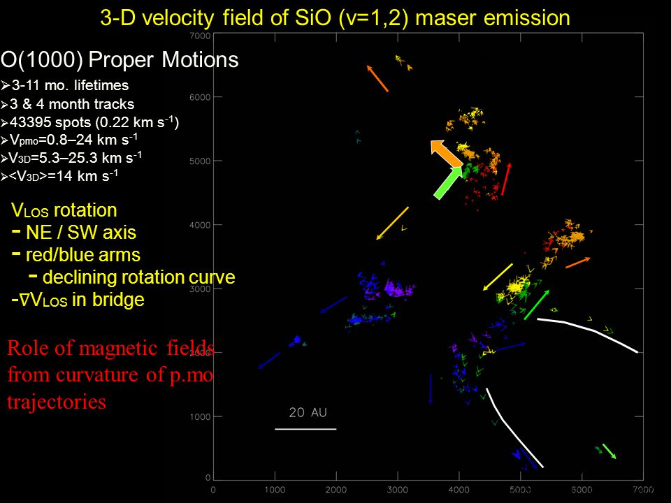 3-D velocity field of SiO (v=1,2) maser emission