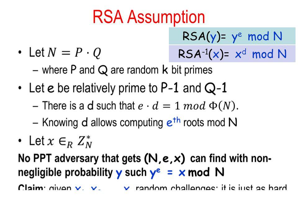 RSA Assumption RSA(y)= ye mod N RSA-1(x)= xd mod N