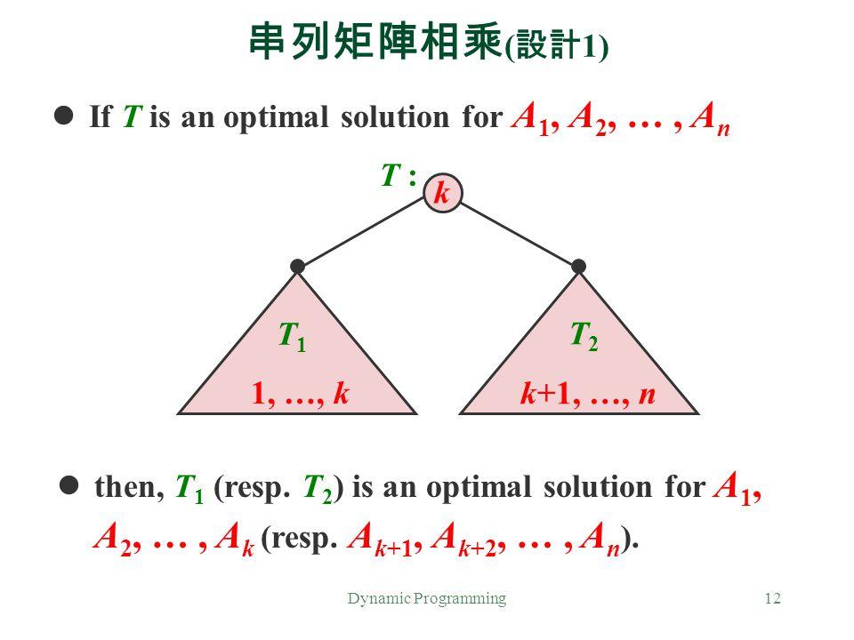 串列矩陣相乘(設計1) If T is an optimal solution for A1, A2, … , An T : k T1 T2