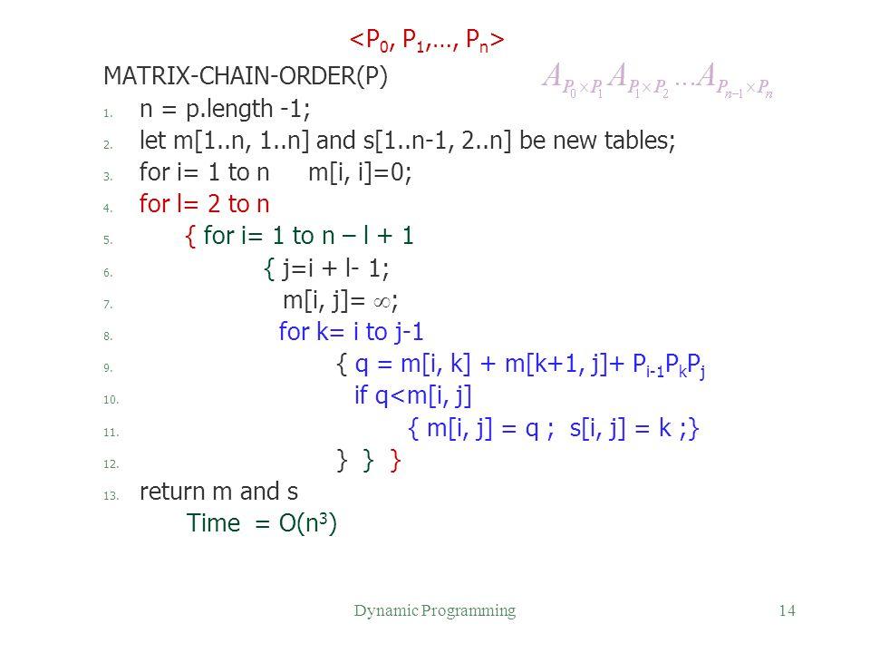 MATRIX-CHAIN-ORDER(P) n = p.length -1;