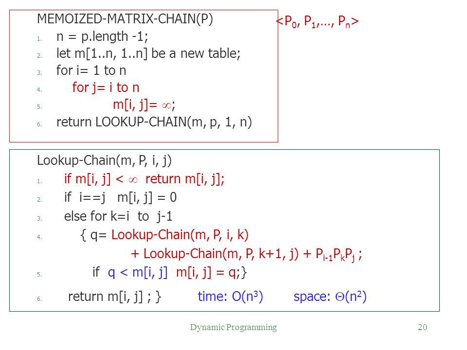 MEMOIZED-MATRIX-CHAIN(P) n = p.length -1;