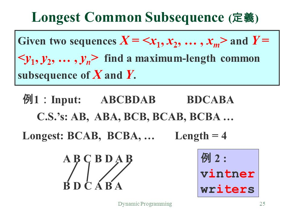 Longest Common Subsequence (定義)