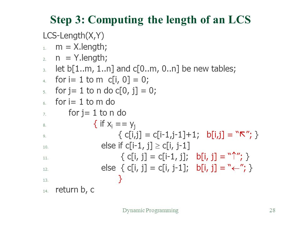 Step 3: Computing the length of an LCS
