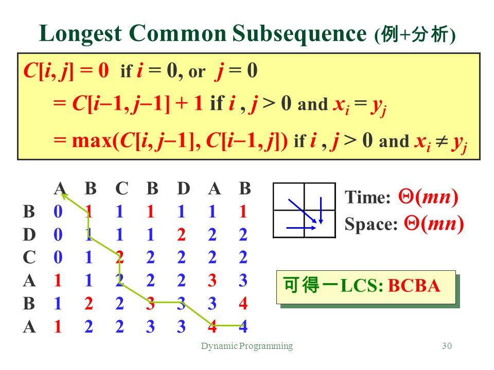 Longest Common Subsequence (例+分析)
