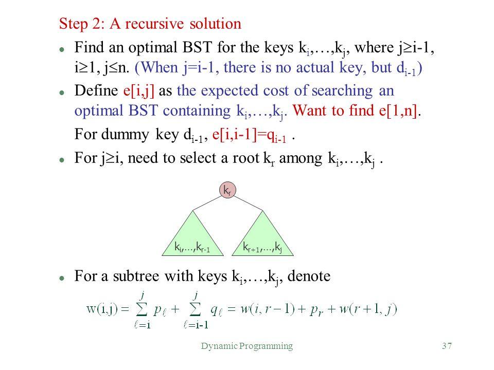 Step 2: A recursive solution