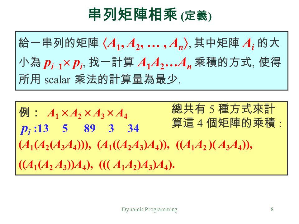 串列矩陣相乘 (定義) 給一串列的矩陣 A1, A2, … , An, 其中矩陣 Ai 的大小為 pi1 pi, 找一計算 A1A2…An 乘積的方式, 使得所用 scalar 乘法的計算量為最少.