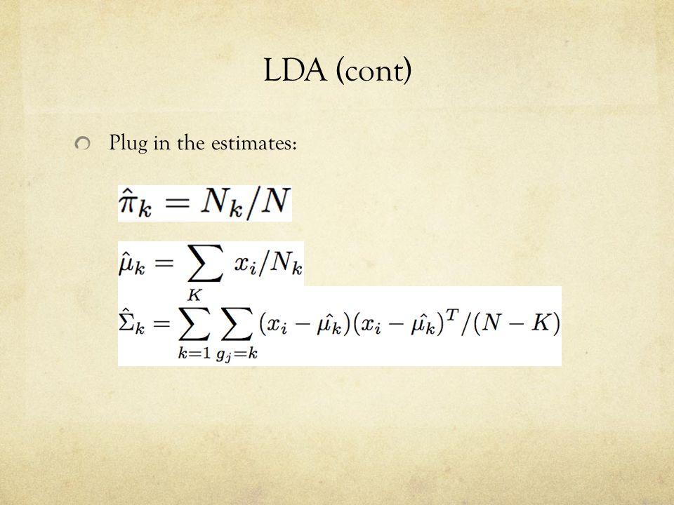 LDA (cont) Plug in the estimates: