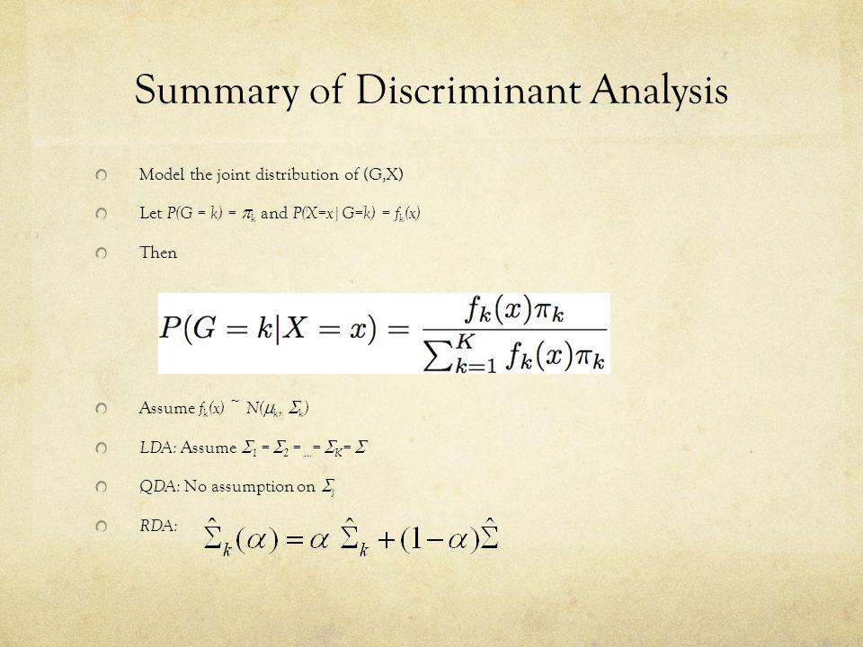 Summary of Discriminant Analysis