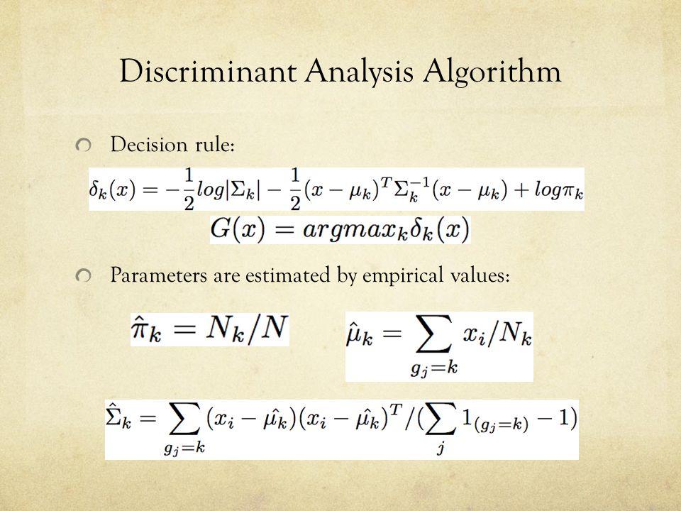Discriminant Analysis Algorithm