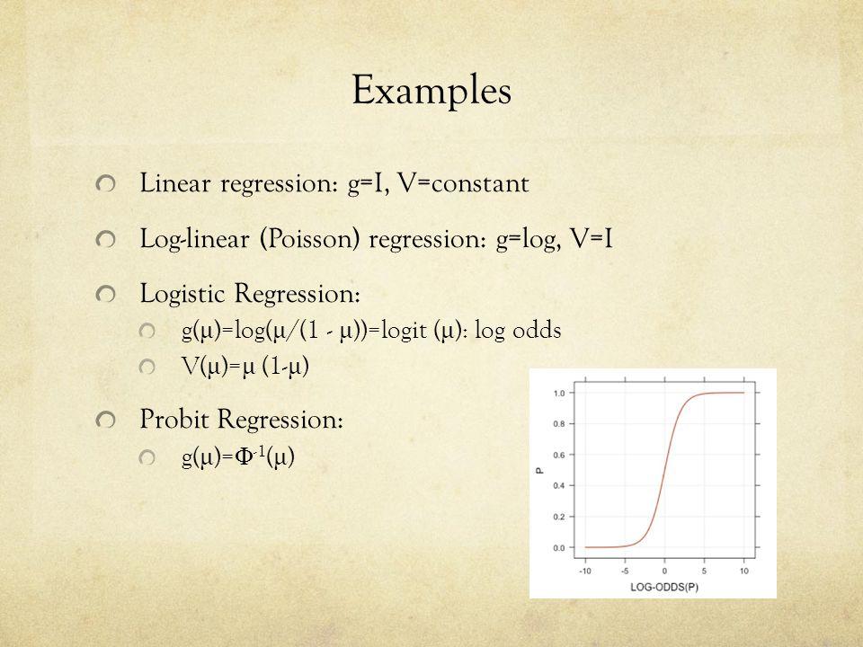 Examples Linear regression: g=I, V=constant