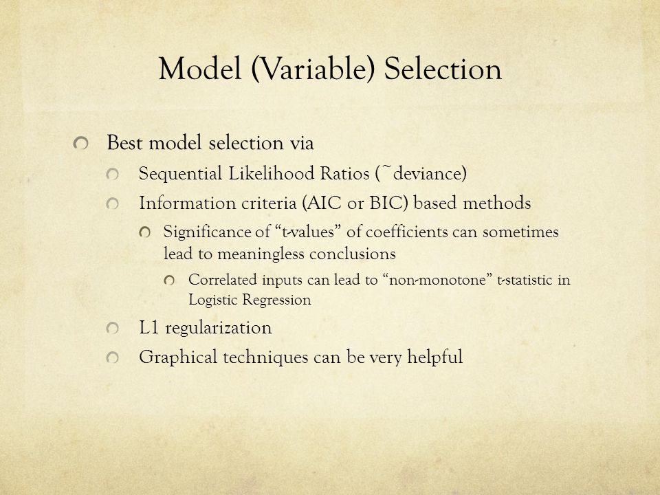 Model (Variable) Selection